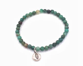 Green Jade Beaded Bracelet with Sterling Silver Leaf Charm
