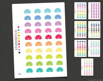 Lotus Flower Icons - Planner Stickers - Repositionable Matte Vinyl