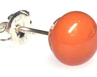Earrings - Handmade Fused Glass Stud Earrings, Sparkley Orange Glass and Sterling Silver Stud Earrings