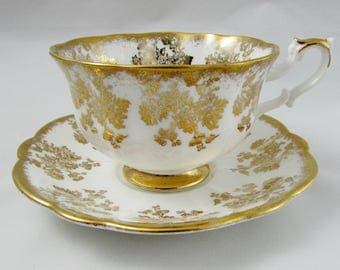 Royal Albert Tea Cup and Saucer with Gold Floral Pattern, Vintage Bone China, Made in England