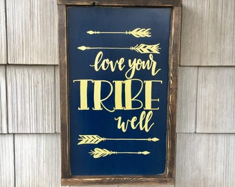 "Love Your Tribe Well - Framed Wood Sign Wall Art  - 19.5"" x 13.5"" - Navy and Gold"