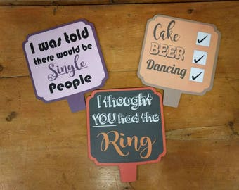 Quality Wedding Photo Booth Props  Set of 3 Double Sided Colourfulv Signs 013-771