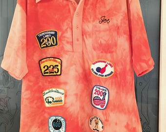 Vintage King Louie Tie Dye Bowling Shirt with Patches Hilltop Mobile Plaza NJ