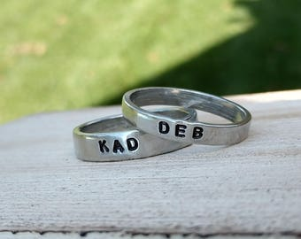 Couples Ring Set, His and Hers Rings, Promise Ring for Him, Promise Ring for Her, Boyfriend Ring, Personalized Ring, Name Ring, Initial Ring