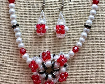 Pearl and Red Crystal Necklace Earring Set. Patriotic. Christmas Jewelry. Twenty Dollar Gifts. Christmas Gift for Boss Coworkers Mom. Friend