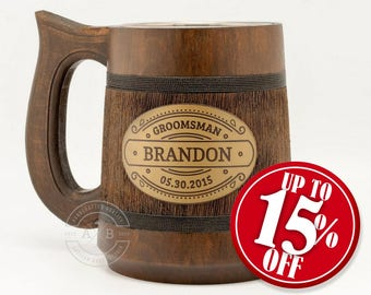 Personalized groomsmen gift 23oz Custom stein Groomsmen gifts Personalized tankard Best man gifts Best Groomsmen Gift Ideas Will you be my