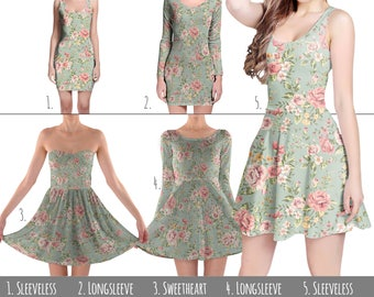 Pastel Floral Wallpaper - Dress in XS-3XL - Flared, Bodycon, or Skater Style 000725