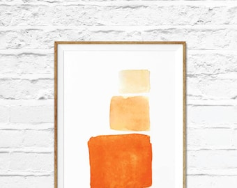 Orange Abstract Art, Geometric Art, Orange wall art, Pink art, Modern Minimalist Poster, Minimalist Art, Printable Wall Art, Orange Poster