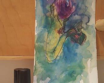 Green Mermaid Original Watercolor Painting