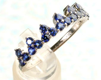 14K White Gold Genuine Chatham® Brand Lab Created Blue Sapphire Stackable Crown Ring, Anniversary Band