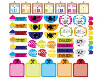 Menu Planner Stickers 48 piece set , Journals , Calendar , reminder , Labels , Teens , Adults , Food , Kitchen
