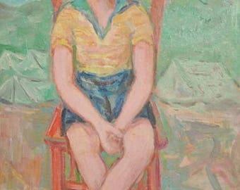 1972 European art oil painting child portrait signed