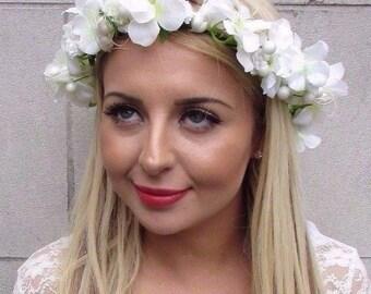 Ivory Cream Pearl Hydrangea Wheat Flower Headband Garland Bridesmaid Bridal 3466