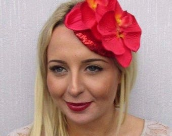 Red Sequin Orchid Flower Fascinator Hat Hair Clip Races Rockabilly Pillbox 3533