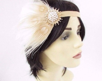 Cream Gold Feather Headband 1920s Flapper Headpiece Great Gatsby Vintage 3842