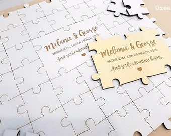 Alternative wood wedding guest book puzzle by Oxee, custom puzzle book