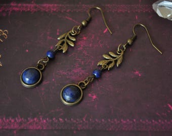 Queen of the Dryads * Jade, Lapis Lazuli and bronze earrings
