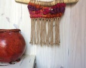 Autumn Upcycled Small Woven Wall Hanging with Fringe, Small Weaving with Upcycled Fabrics, Boho Décor, Woven Wall Hanging, Modern Weaving