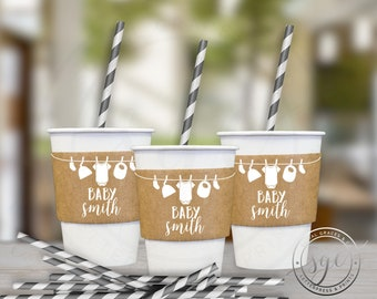 Clothesline Baby Shower   Paper Coffee Cup Customizable Sleeves    social graces and co.