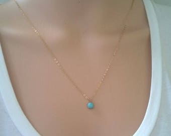 Natural amazonite necklace 14Kt gold-filled; gold turquoise necklace; gold amazonite necklace; small round gemstone necklace