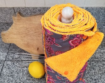 Un Paper Towel, 18 Towels, Grey with Pink and Orange Flower on Orange Microfiber, Convenient Select a Size, Re-Usable Towels, MarjorieMae