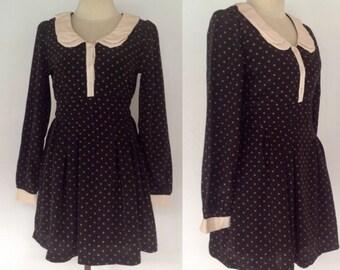 Vintage Peter Pan collar Dress, Black Dress, Polka Dot dress, 90s 1990s, Mini Dress, Boho, 60s Style dress, Size 6 8