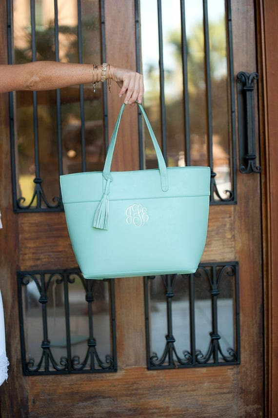 Monogrammed Bags Mint Monogrammed Purse Seafoam Green Handbag with Tassel Trim Monogrammed Gifts Personalized Weddings Highway12Designs