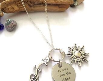 tangled necklace, rapunzel necklace, princess necklace, princess jewelery, princess gift, princess party, see the light, tangled rapunzel