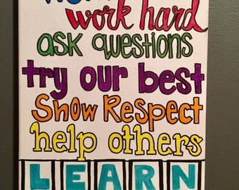"""In this classroom we.... Canvas Art Quote 9""""x12"""""""