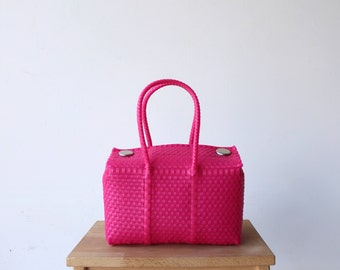 Hot Pink Mexico Bag, Handwoven Mexican Tote, Oaxaca Tote, Mexican Plastic Bag, Mexican Basket, Mexican Art, MexiMexi, Picnic Basket
