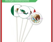 Mexican flag 2, Cupcake Toppers, instant download, stickers, buttons, viva mexico, mexican pride, diy printable, 2 inch round, mexico, red,