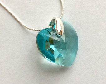 Turquoise Swarovski Heart Necklace, Turquoise Swarovski Necklace, Crystal Heart Pendant, Swarovski Jewelry