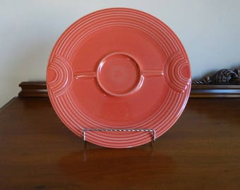 Homer Laughlin China Co. Fiesta Persimmon Orange Hostess Tray Plate Chip and Dip