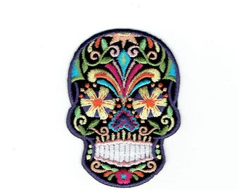 Black Sugar Skull - Blue/Yellow Flower Eyes - Day of the dead - Dia de los Muertos - Iron on Applique - Embroidered Patch - 697093-B