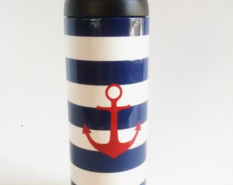 Nautical - Anchor - Stripes - Patriotic - 18oz RTIC Bottle - Powder Coated Tumbler - Stainless Steel Insulated Thermos - Water Bottle