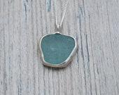 Backless Bezel Set Dark Seafoam Green Lake Erie Beach Glass Necklace in Sterling Silver