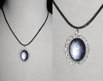 Necklace 18x13 [Dark glitter-silver]
