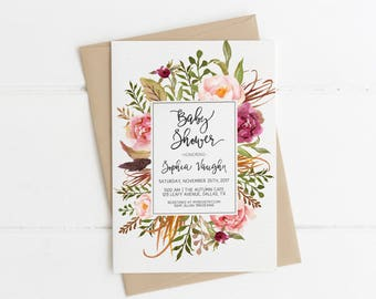 Fall Baby Shower Invitation Printable, Boho Chic Floral Wreath Invite, Gender Neutral Colors, It's a Girl Baby Sprinkle, Autumn Flowers