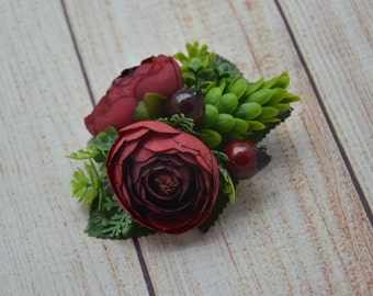 Girls hair clip Flower clip Wedding hair clip Burgundy flower clip Bridal hair clip Flower girl hair clip Gift for daughter Flower hair clip