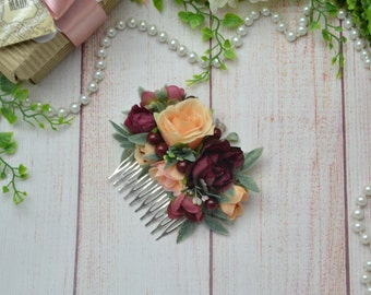 Burgundy peach comb Burgundy wedding Peach flower comb burgundy headpiece Bridesmaid comb Bridal comb Flower girl comb Floral accessories