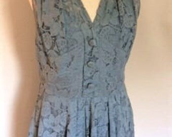 Vintage 1940s / 1950s dress blue lace floral evening dress size small