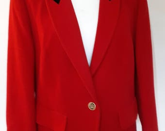 Vintage Red cashmere wool blend jacket with black velvet collar and cuffs by Fink size large xlarge