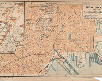 1909 New Haven, Connecticut, and Yale University Antique Map