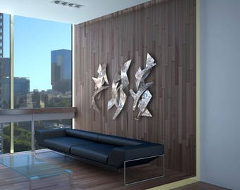"""Modern Dimensional Contemporary Abstract Metal Wall Sculptures """"3 Tempests"""" by Dustin Miller"""