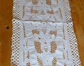 Vintage 1930s Large Linen Table Runner with Cutwork  Dresser Scarf