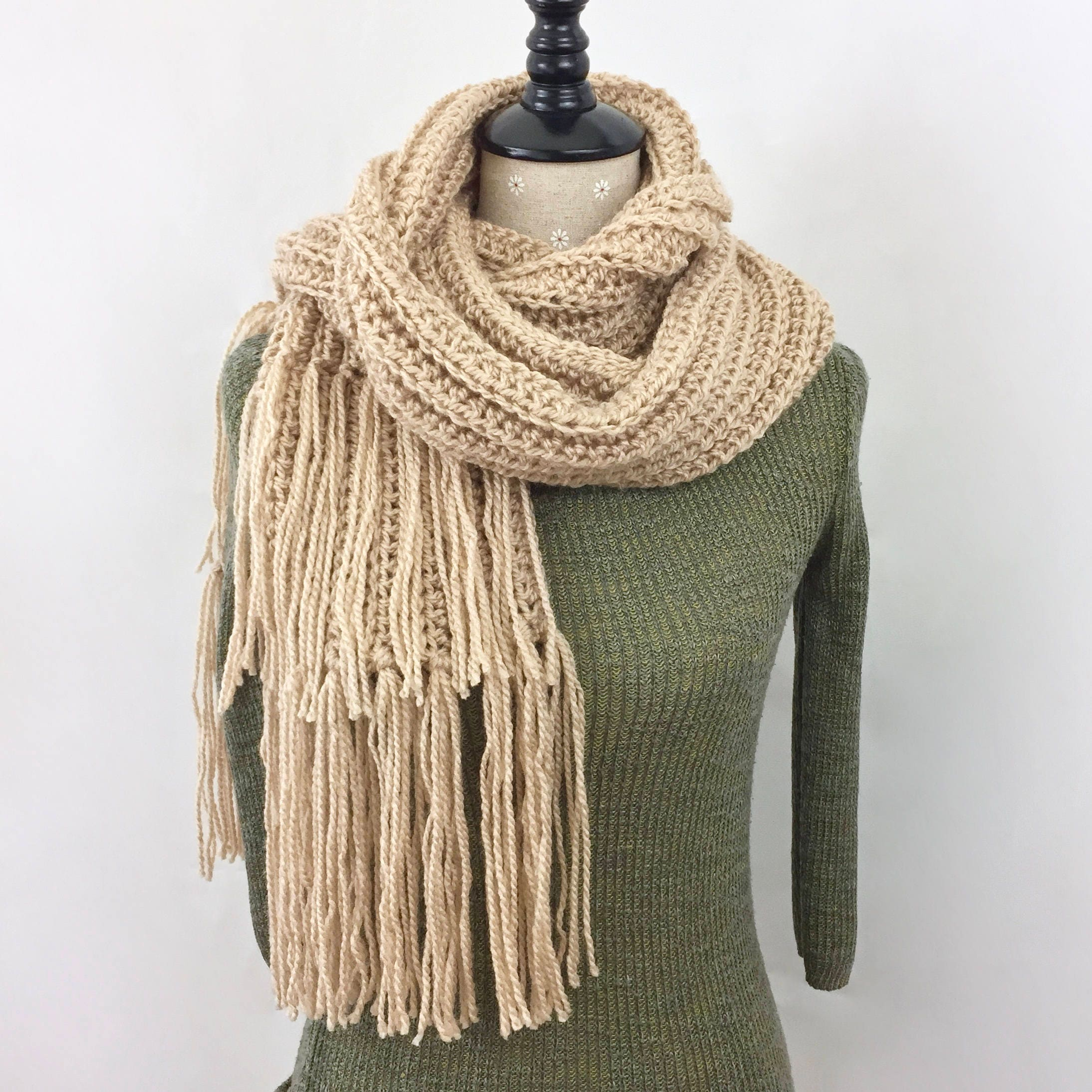 Tan Scarf Beige Scarf Long Double Fringe Scarf Ribbed Women Men Fall