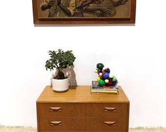 70s Stylish vintage Mid Century G plan small low chest of drawers