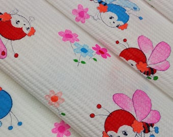 children's waffle weave cotton yukata fabric with bumble bees and flowers  - by the yard