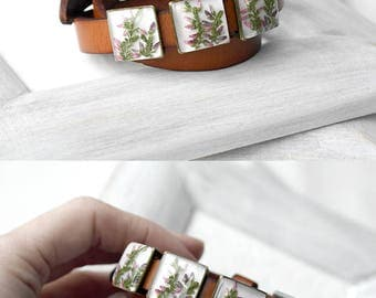 Real flowers bracelet Leather anniversary gift bracelet for womens gifts Leather wedding gift for wife valentines day gift for girlfriend