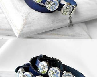Custom blue bracelet Wrap personalized leather bracelet initial bracelet Dry flowers jewelry Forget me not gift for girlfriend bracelet